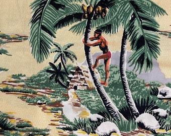 "ROAD To HALEIWA"" Tropical Novelty Print//Tiki Hut, Hulu Dancers, Coconut Trees, Fishing, Grns, Brwn, Blk, Rusts, Maize Diamond Ground"