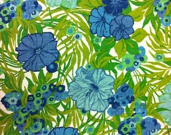 "50's Boris Kroll Fabrics ""SOMERSET""//All Linen//Hand Print//Cobalt Blue, Lime, Olive, Teal, Summer Green Flowers on Natural Ground"