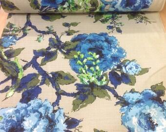 60's Vintage Barkcloth Floral print//Cobalt blue Flowers, Emerald green leaves//All cotton/ Med weight//Light Olive Ground