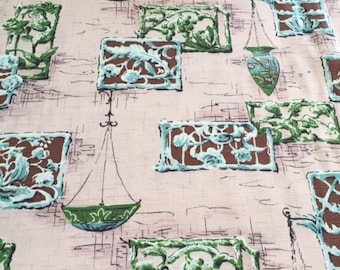 """50s """"Durbar"""" Birchwood Prints//Vintage Barkcloth//Garden Party of Grills and Planters of Aqua, Brown, Olive on Pink Ground"""
