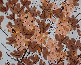 """VERA """"VINYARD"""" for SCHUMACHER  Vintage Fabric 60s Abstract Leaves of Dk Taupe, Peach, Copper on Off White Ground One Piece"""