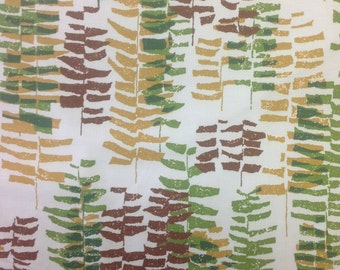 """60s MCM//Dure Allure Vintage Leaf Abstract """"Ferndale"""" Vat Dyed in Evergreen, Gold, Chocolate Leaves, Fresh Mint Ground, Cotton//BTY 12.5 yds"""