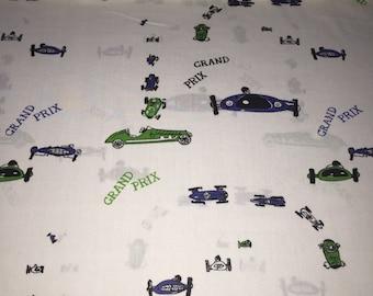 "Motorway Novelty Print ""Grand Prix""  60s Original Wamsutta Design  Emerald Green and Navy Blue Race cars//White Grnd//Cotton Blend"
