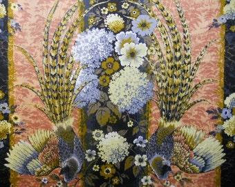 Covington Pheasant Stripe 5th Ave Design by . Lush Shades of Indigo, Powder Blue, Gold, Corn, Butterscoth, Peach//BTY