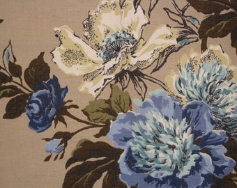 "Riverdale's ""Somerset"" 60s Floral Bouquet, Royal, Light Blue, Aqua, Light Lime Green Flowers, Chocolate, Khaki Leaves on Beige Ground"