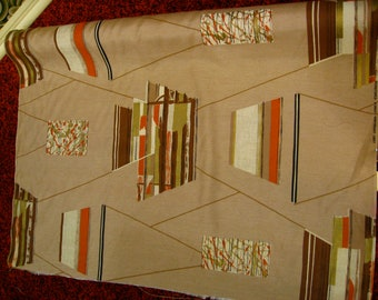 """MCM Eames Era//Riverdale Fabric """"TO and FRO"""" Geo Shantung//Hand Blocked Print// Orange, Black, Brown on Taupe Ground 1957"""