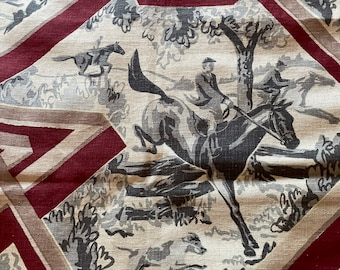 """Art Deco """"THE HUNT"""" Cohama Hand Print 100% Linen 40s Bordeaux, Taupe, Tan Geometric with Grey, Charcoal, Silver Riders/Trees on Ecru Grnd"""