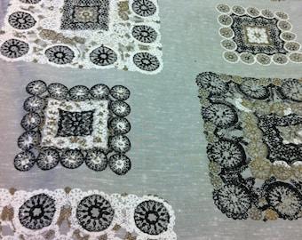 Silk Print//Hand Printed Blocks & Wheels Spanish Harlem Lace  Decorama Exclusive  of Black, White, Brass Overlay on Silver Ground