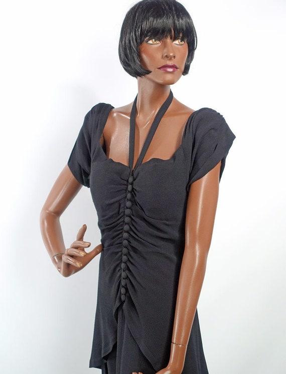 Vintage 40s LBD Black Cocktail Dress Shirred Mediu