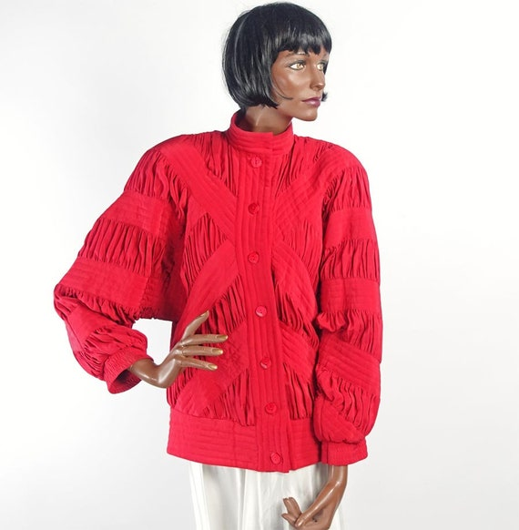 Vintage 80s Red Silk Quilted Bomber Style Jacket … - image 3