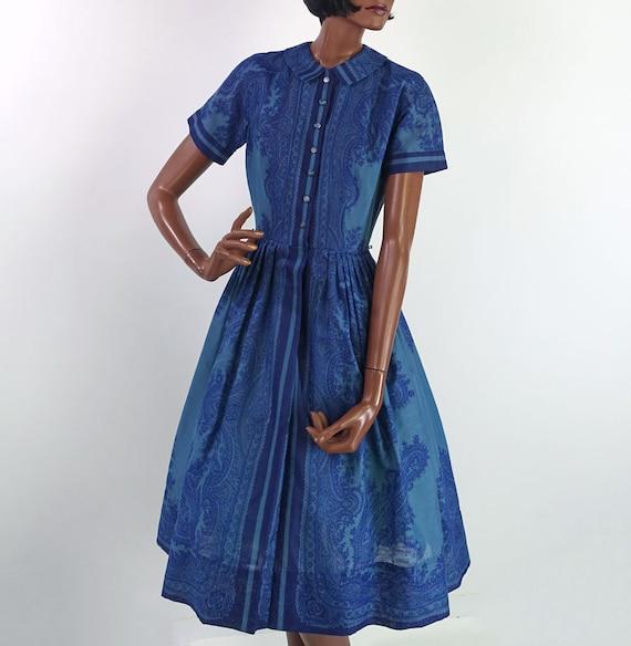 50s 60s Vintage Laiglon Day Dress PAISLEY Border P