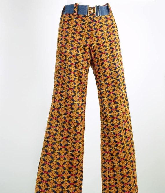 Vintage 70s Argyle Plaid Knit Bellbottom Pants XS