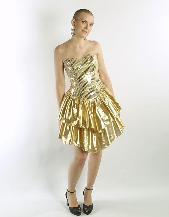 80s Vintage Strapless Mini Dress Gold Salsa Skirt