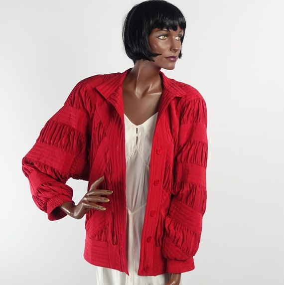 Vintage 80s Red Silk Quilted Bomber Style Jacket … - image 2