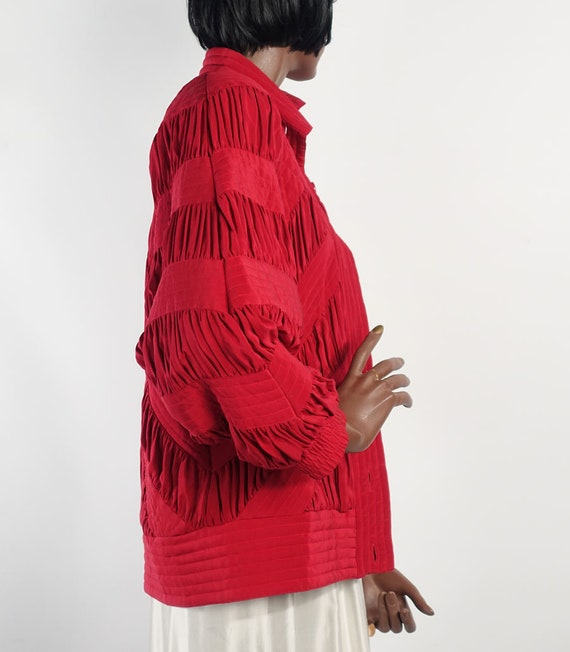 Vintage 80s Red Silk Quilted Bomber Style Jacket … - image 4