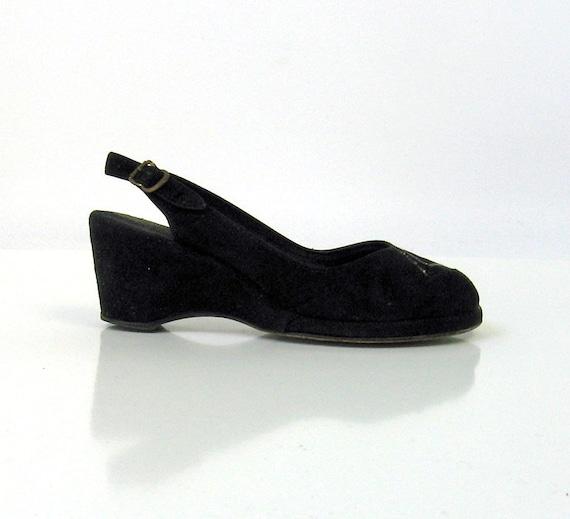 40s Peeptoe Wedges Vintage Platform Black Suede
