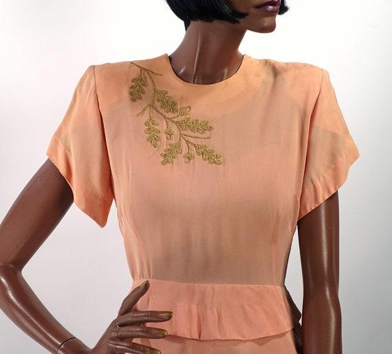 Vintage 40s Peplum Dress Pink Peach Braid Embellis