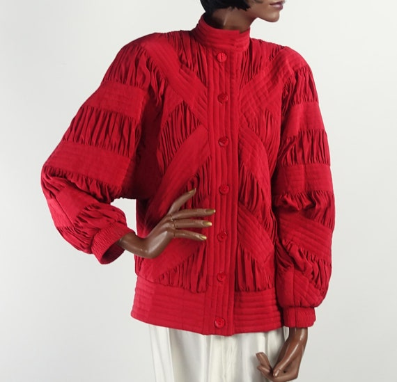 Vintage 80s Red Silk Quilted Bomber Style Jacket … - image 5