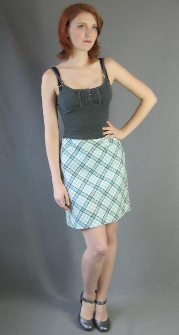 70s Plaid Mini Skirt Vintage A-line 1970s Diagonal