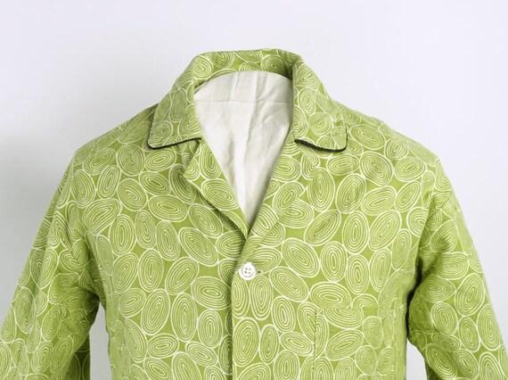 Vintage 60s atomic amoeba abstract print aqua orange sleeveless blouse shirt L