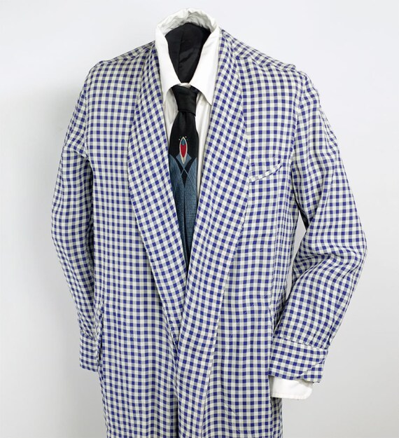 50s Vintage Men's Checked Robe Rayon Dressing Gown