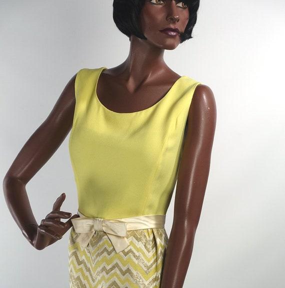 Vintage 60s Yellow Mini Dress ZigZag Metallic Skir