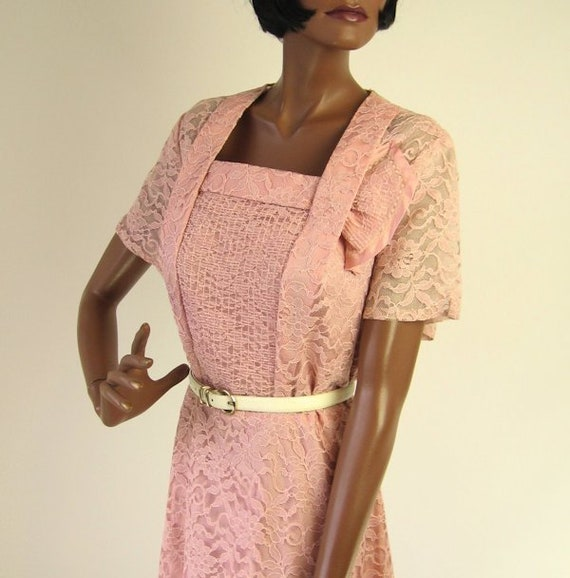 50s Cocktail Party Dress Pink Lace Extra Large