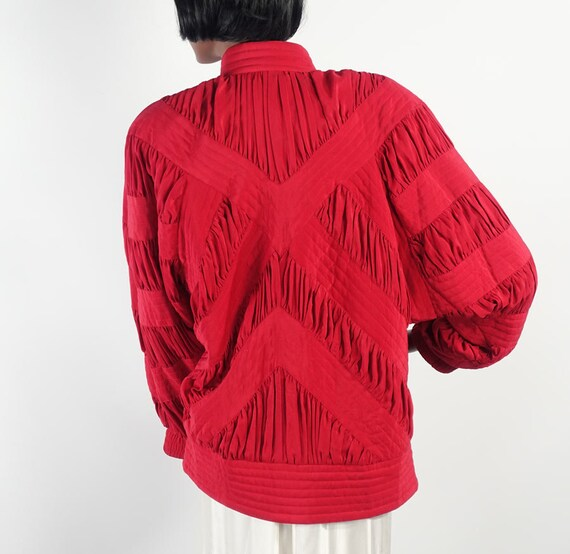Vintage 80s Red Silk Quilted Bomber Style Jacket … - image 1