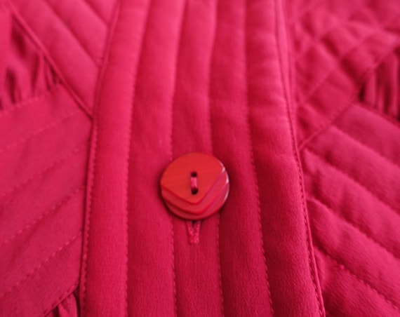 Vintage 80s Red Silk Quilted Bomber Style Jacket … - image 6