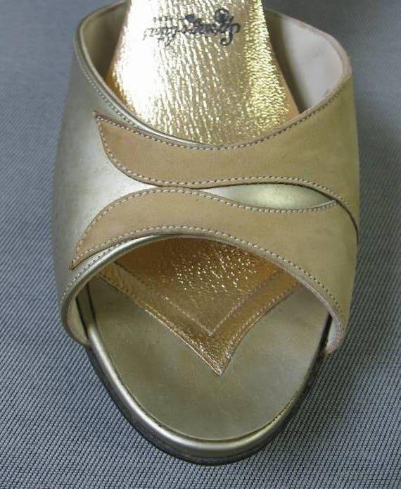 60s Springolator Heels Vintage Mules Suede Gold 6.