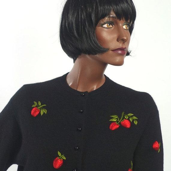 Vintage 50s Black Cardigan Sweater Strawberries