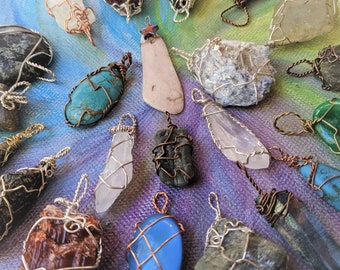 One Wire Wrapped Pendant - Semi-Precious Gems - 1 Mystery Crystal From Lot - Surprise Pendant
