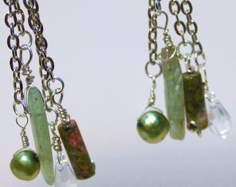 Green Kyanite and Unakite Drop Earrings - Rock Kandy