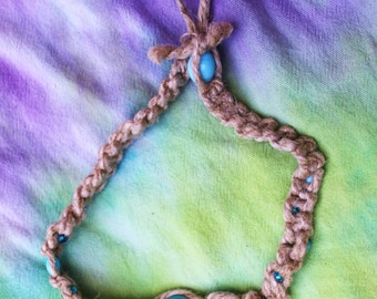 Hemp Necklace with Glass beads - Baby Blue Knotted Choker