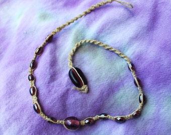 Hemp Necklace with Glass beads - Purple