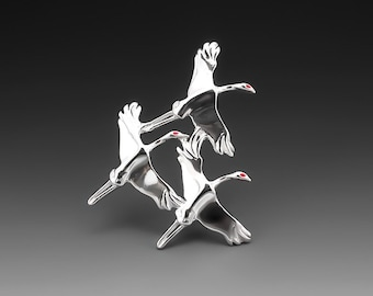 Sandhill Cranes Sterling Silver Brooch/Pin with Red Enamel
