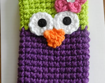 Crocheted Owl Cell Phone Cozy/ Crocheted Green and Purple Owl Cell Phone Cozy/ Crocheted Phone Cozy