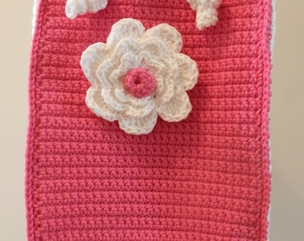 Sale Crochet Purse/ Crocheted Lunch Bag/ Mad About Pink Crocheted Flower Purse