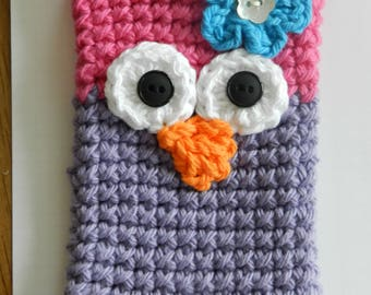 Crocheted Owl Cell Phone Cozy/ Crocheted Pink and Purple Owl Cell Phone Cozy/ Crocheted Phone Cozy