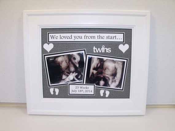 Twins Ultrasound Sonogram Photo Mat Personalized With