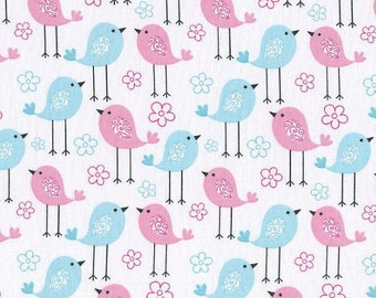 SALE! Last Piecs- Pink and Blue Birds on White - Galaxy Tweetie Pie Fabric - Nursery Fabric - 100% Cotton - one 1/2 yard
