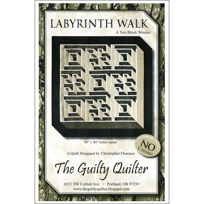LABYRINTH WALK Quilt Pattern - By The Guilty Quilter Christopher Florence -  A Two Block Wonder! Geometric 3D Puzzle Quilt Pattern 84