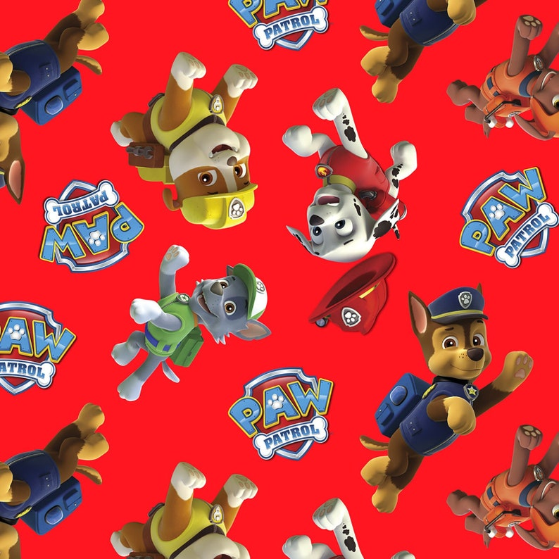 SALE! Paw Patrol Nick Junior 100% Cotton Fabric by David Textiles Red  Tossed Print - BY the YARD
