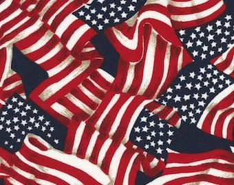 SALE! American Flag Patriotic Cotton Fabric - Galaxy Patriotic Prints Tossed American Flag