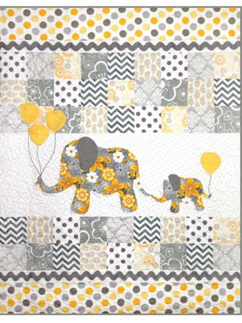 Mommy & Me Baby Child Quilt Pattern  Animal Elephant Quilt image 0