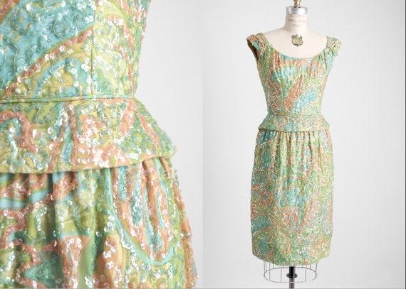 1950s 60s Pat Sandler Sequin Cocktail Dress