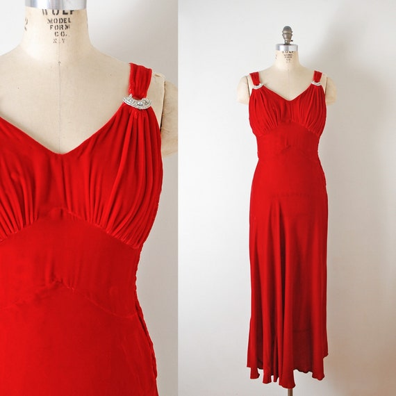 1930s 40s Red Silk Velvet Evening Gown With Rhines