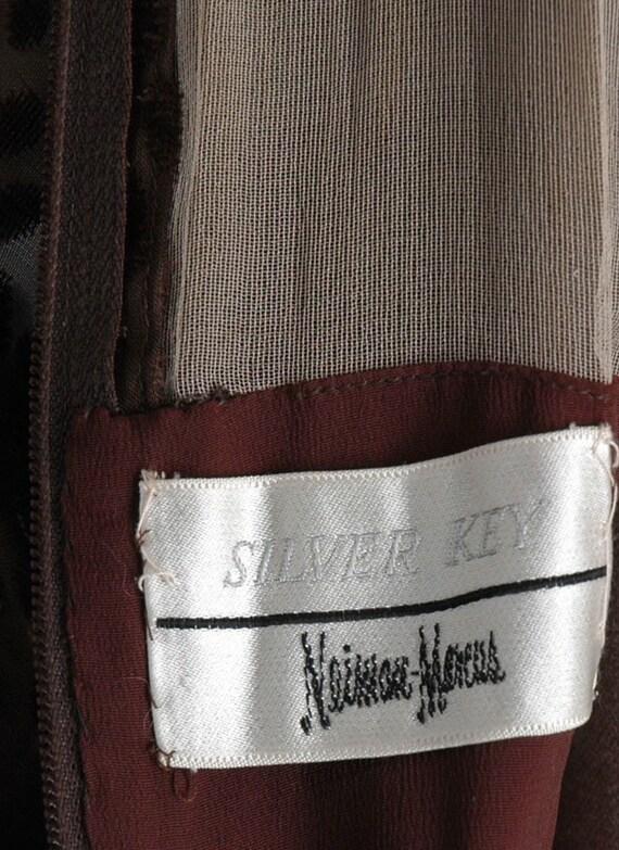1960s 70s Mollie Parnis Brown Burnout Velvet Dres… - image 9