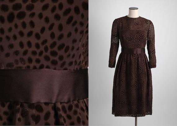 1960s 70s Mollie Parnis Brown Burnout Velvet Dres… - image 1
