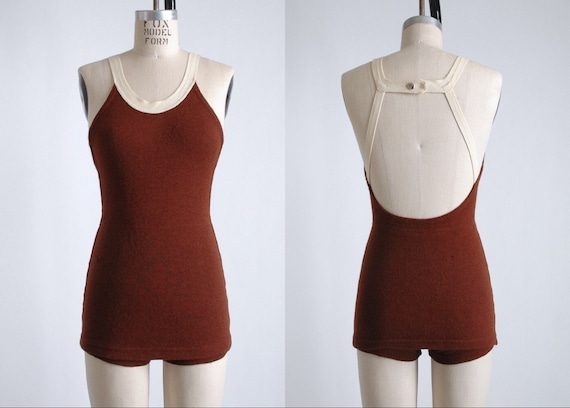 1930s strappy maroon wool skirted bathing suit swi